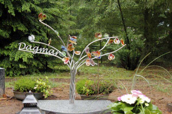 grafsteen kind RVS en glas