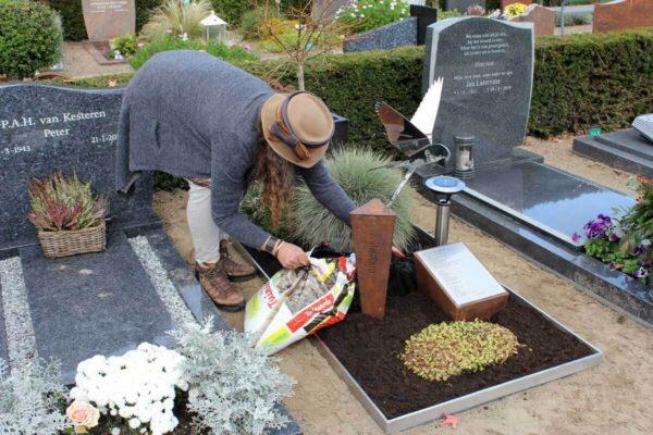 Beplanting aanbrengen bijzonder gedenkteken van corten met RVS vogel voor echtgenoot/partner